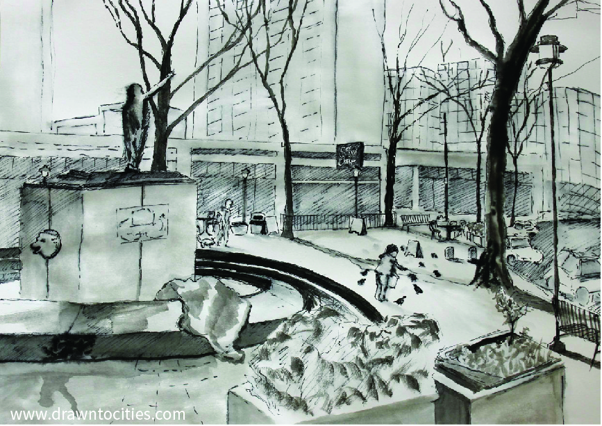 Ink drawing of Tilikum Place Seattle interior features by drawntocities.com