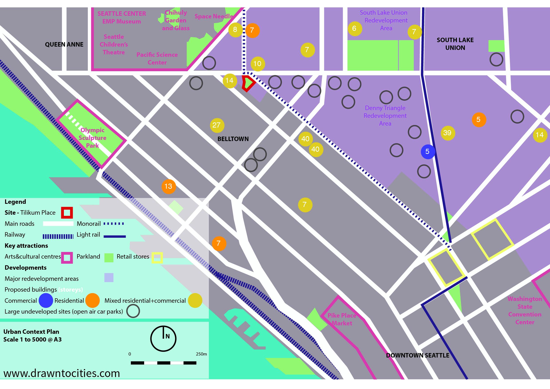 Development activity and vacant sites surrounding Tilikum Place Seattle context map by drawntocities.com