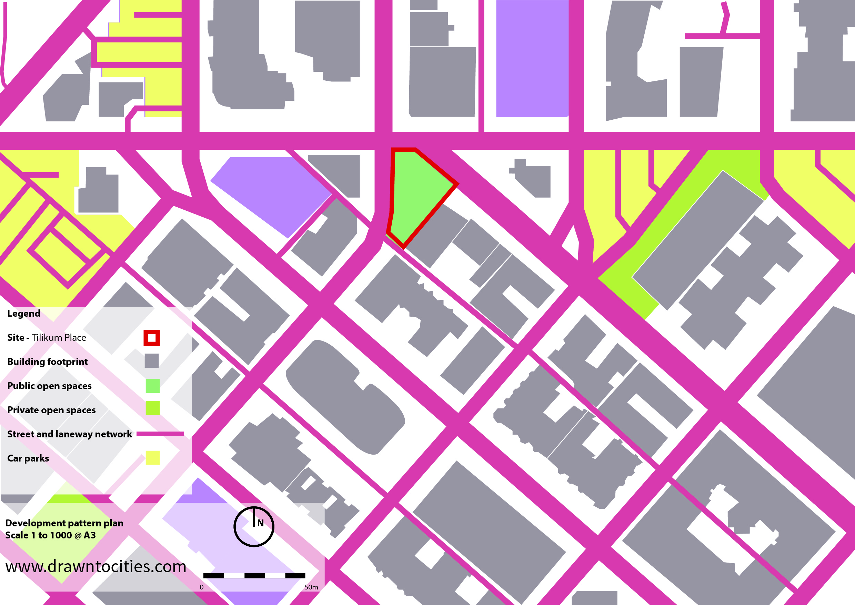 Tilikum Place Seattle development pattern map by drawntocities.com