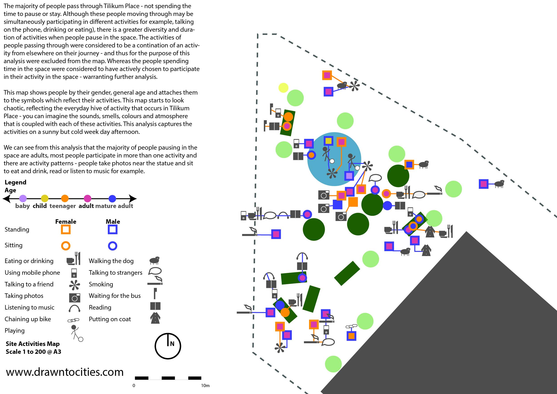 Human activities analysis at TIlikum Place Seattle by drawntocities.com