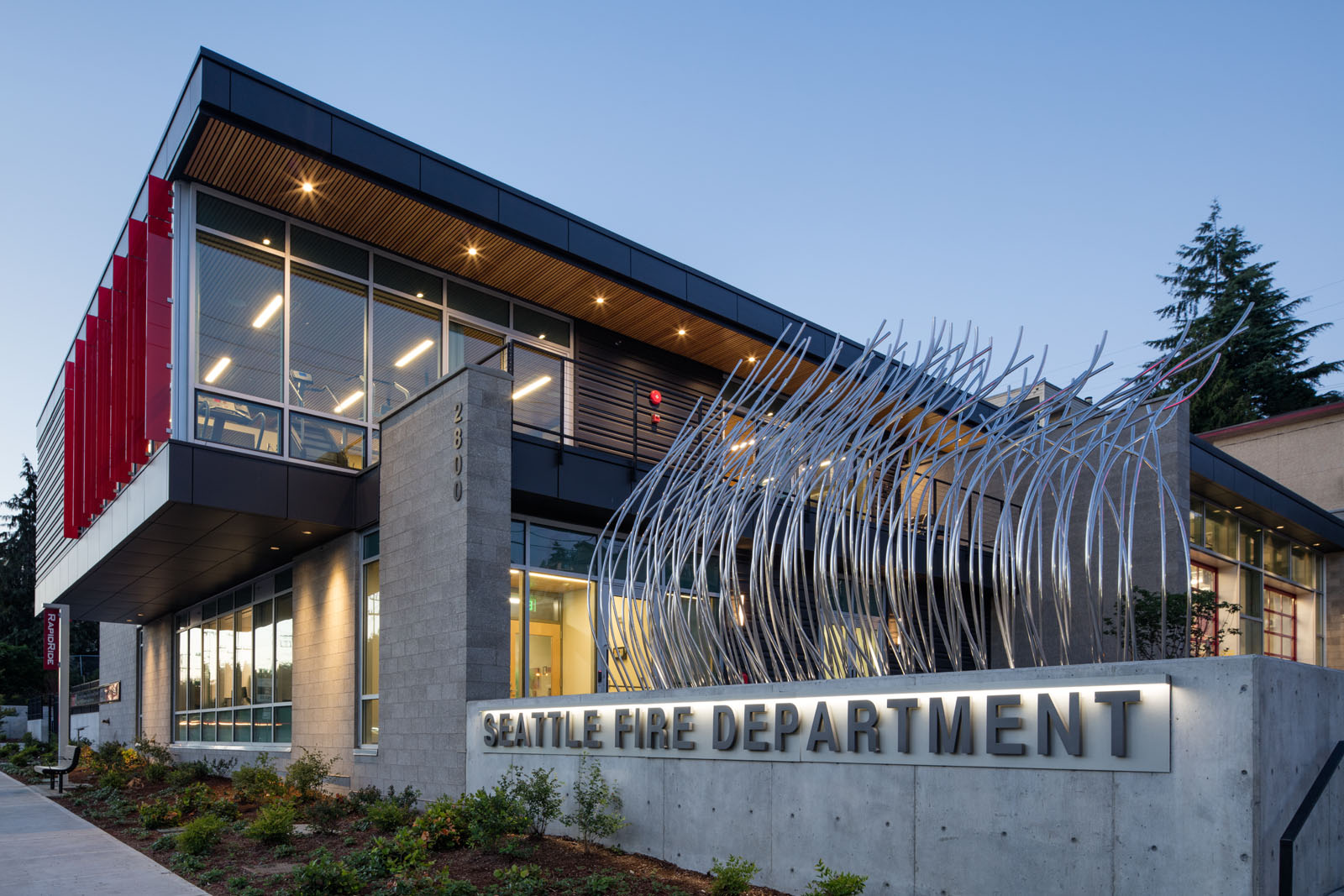Fire Station 20. Photo by Lara Swimmer , courtesy of Schacht Aslani Architects.