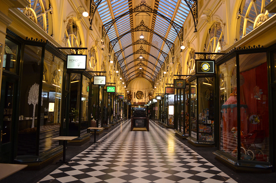 This image of Melbourne's Royal Arcade, constructed in 1869, was taken before 7am on a weekday. The arcade provides a north-south pedestrian connection protected from the elements and traffic. Photo by Matthew Oberklaid.