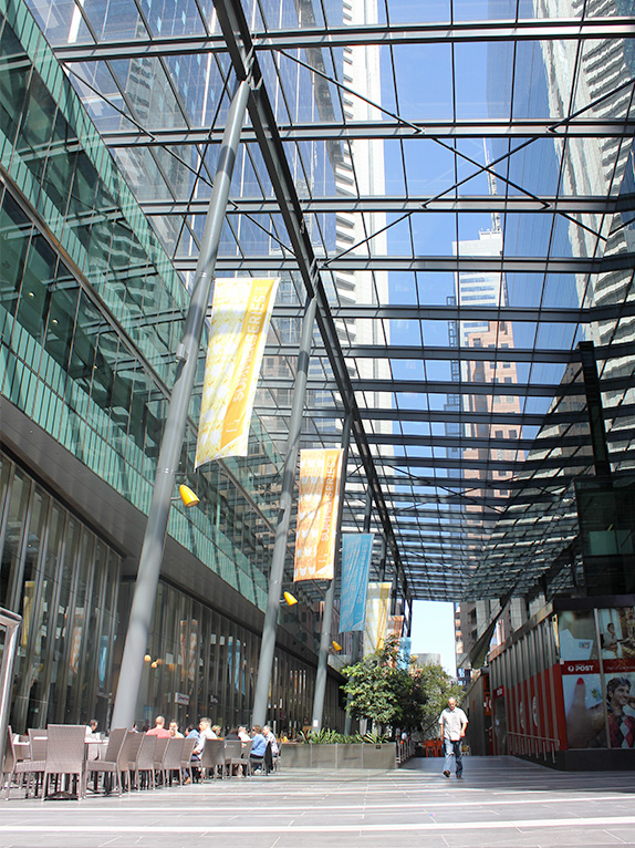 The Southern Cross Tower development incorporates a pedestrian connection through the block which references the city's laneways. Photo by Sarah Oberklaid.