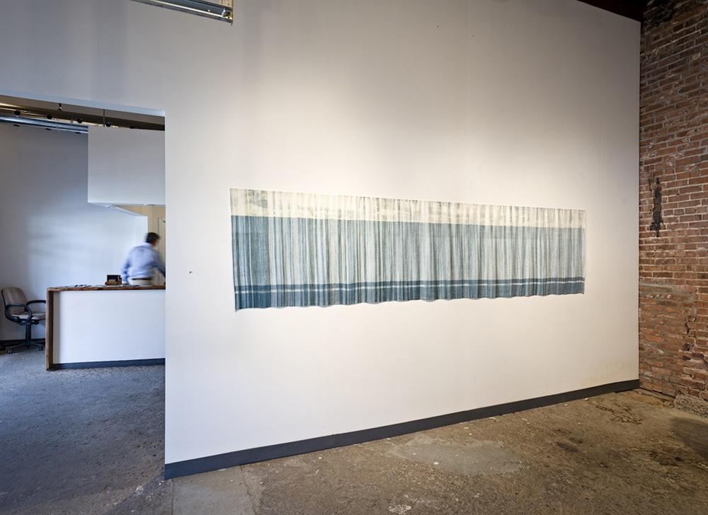 "Rain Over Lake Michigan - 2011 - hand dyed, hand woven, tencel, embroidery -31"" x 131"" x 0.5"""