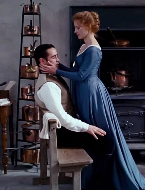 Colin Farrel and Jessica Chastain in the 2014 film adaptation of  Miss Julie