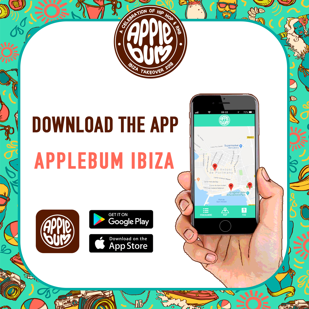Download our  Applebum Ibiza Takeover App  for free today. See the full programme, set times and venue locations. Get notifications of exclusive  drinks offers  and browse through our FAQs.  Our app contains all the information you need to maximise your holiday.