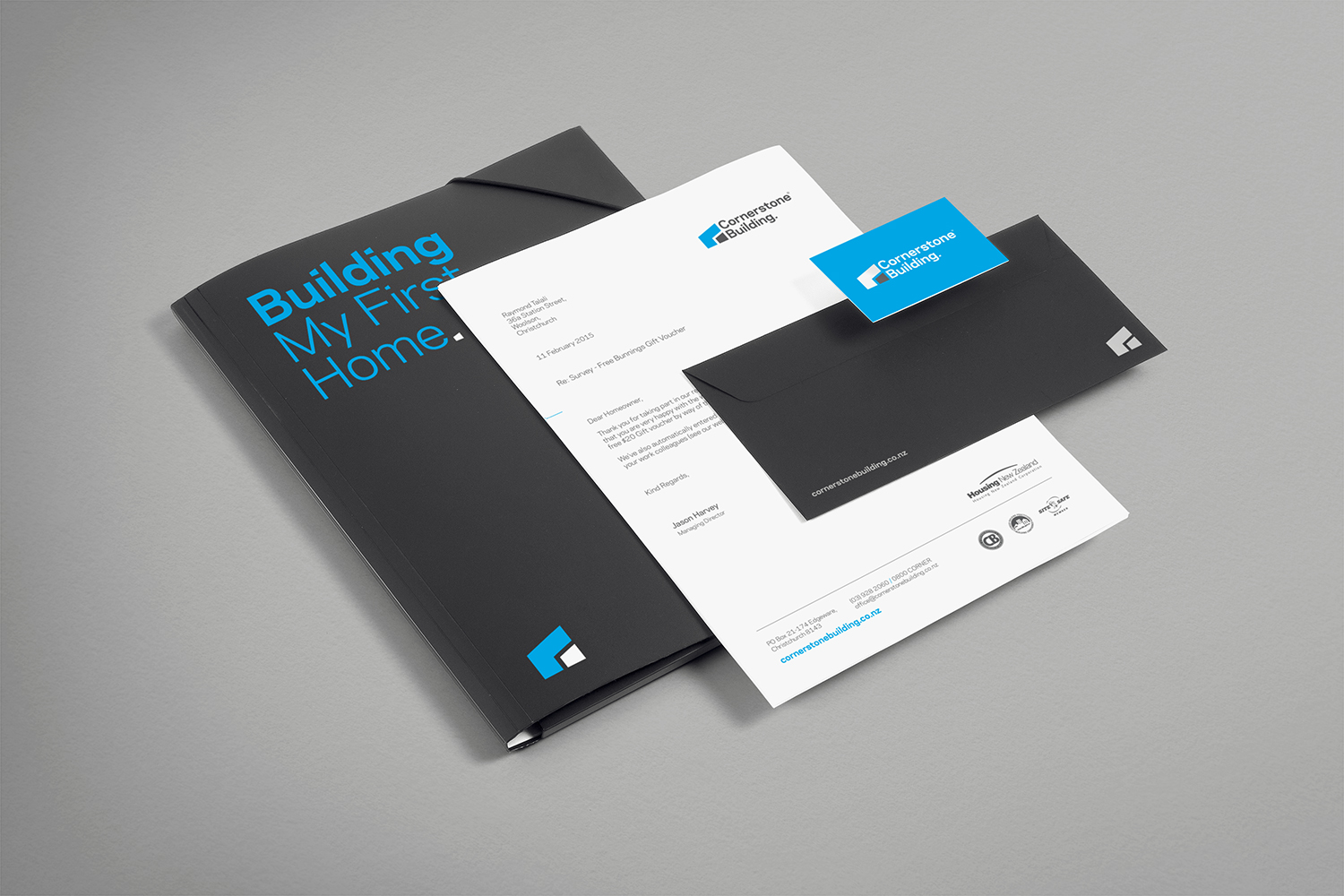 Cornerstone Building brand identity and collateral designed by ThompsonCo.