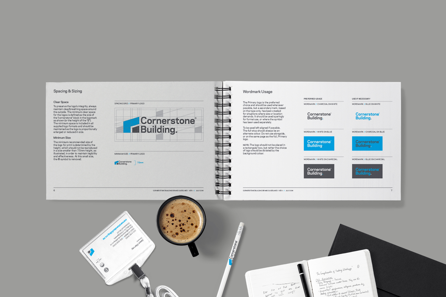Cornerstone Building brand guidelines designed by ThompsonCo.