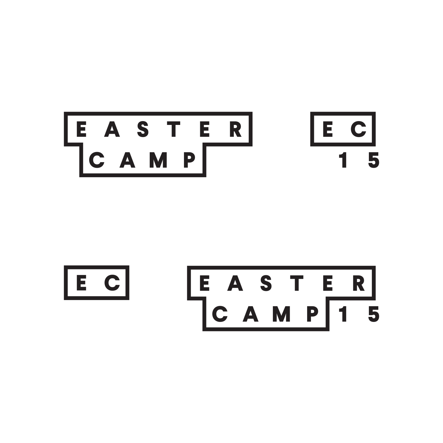 Identity lockups for Eastercamp designed by ThompsonCo.