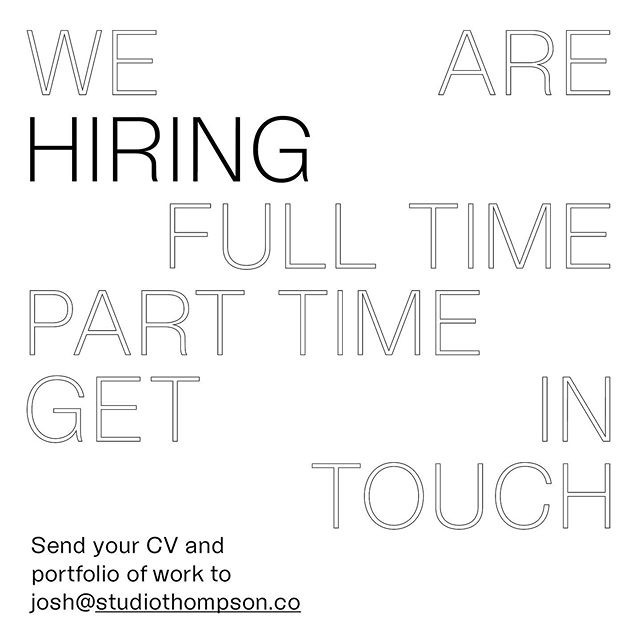 We are on the lookout for nice people who happen to be graphic designers. Brand experience is ideal, motion, digital or other specialties are a bonus.  Full time, part time, any time;  in-house, Christchurch-based only.  Send your CV and portfolio/links to josh@studiothompson.co  #designjobs #hiring #hiringdesigner #design #graphicdesign #typography