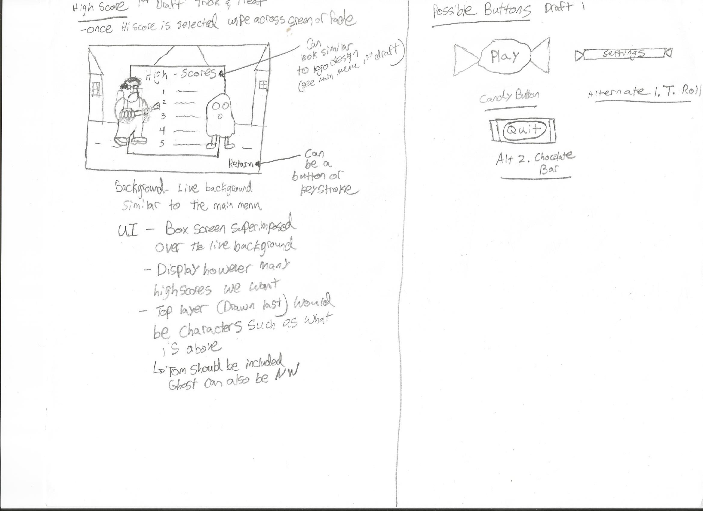 Early conceptual notes on Trick and Treat UI