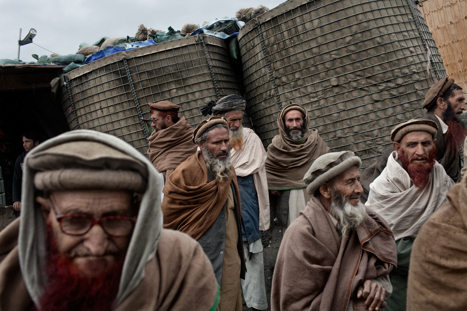Village elders attend a meeting with U.S. Army at the Korengal Outpost, Kunar Province, Afghanistan.