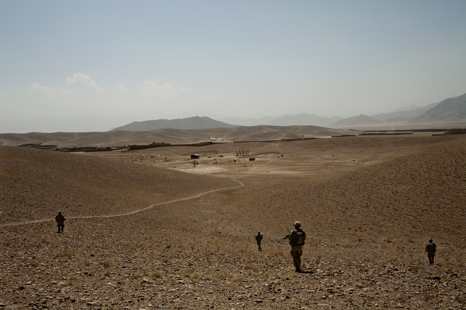 U.S. Army soldiers patrol in the Tangi Valley during an operation in Wardak Province, Afghanistan.