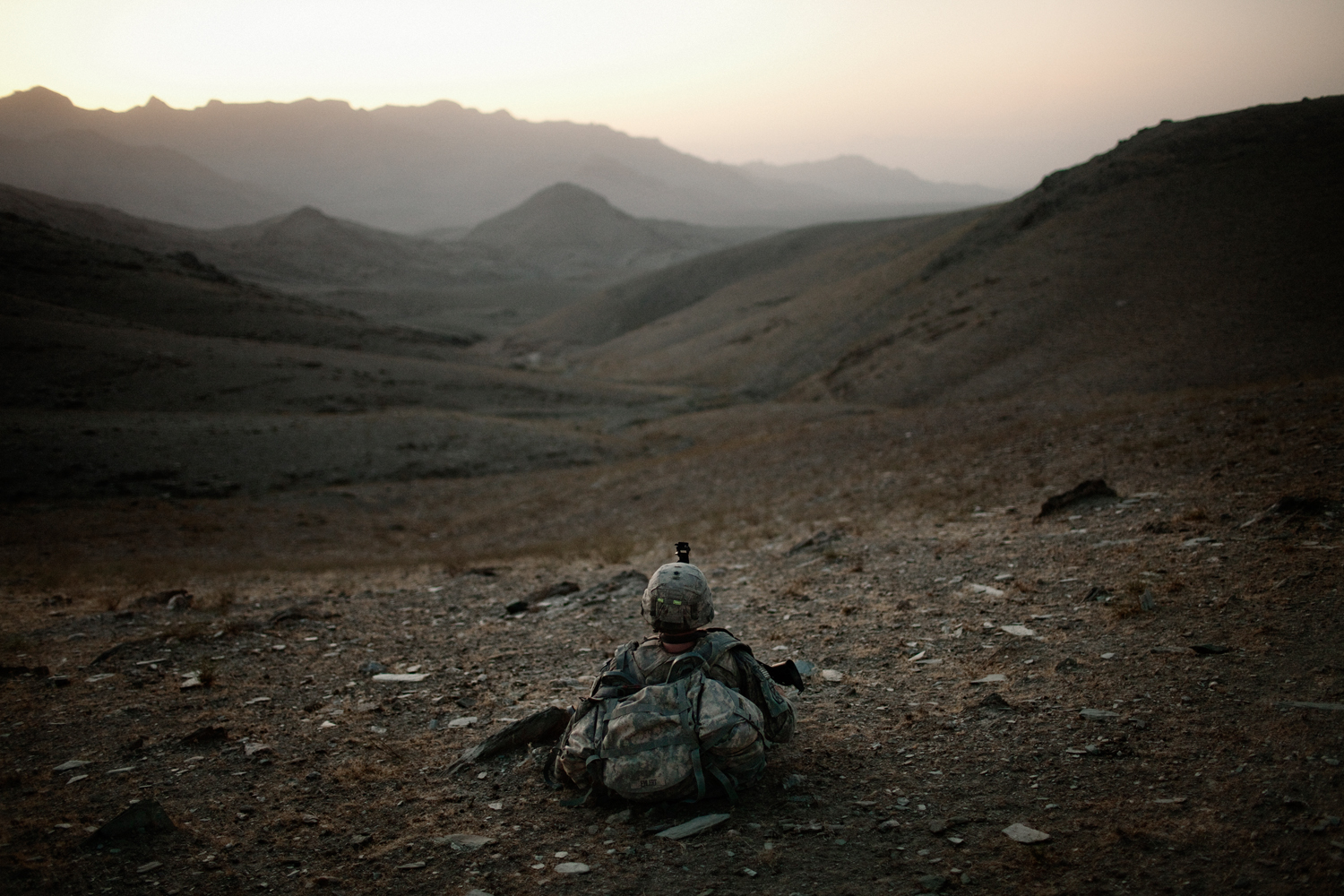U.S. Army soldiers patrol in the Tangi Valley, Wardak Province, Afghanistan.