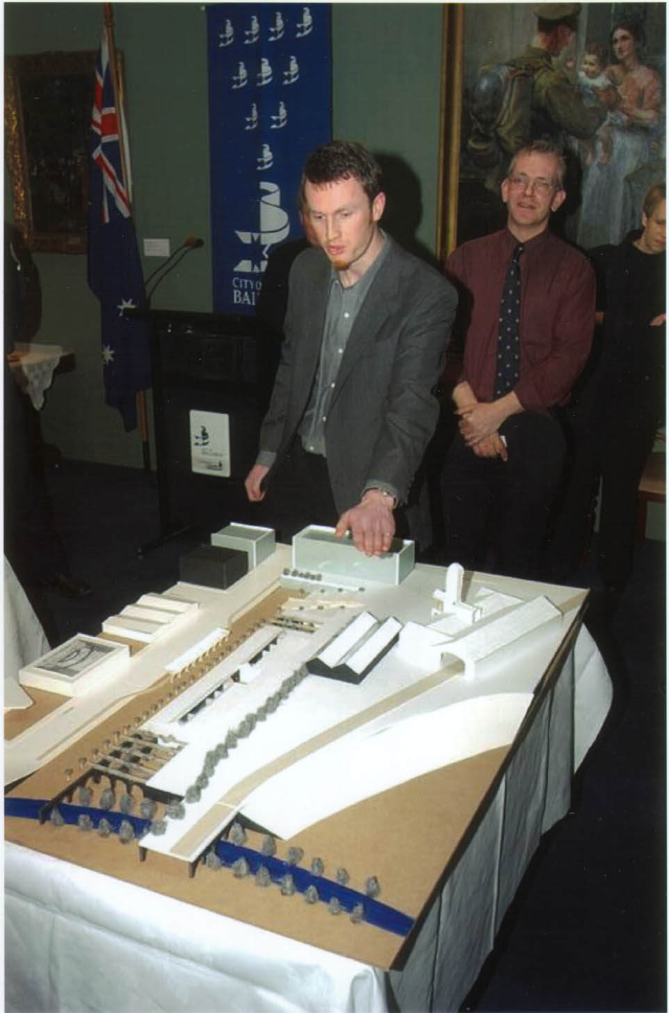 A younger, more idealistic me presenting the scheme at a public exhibition in the Ballarat Town Hall.