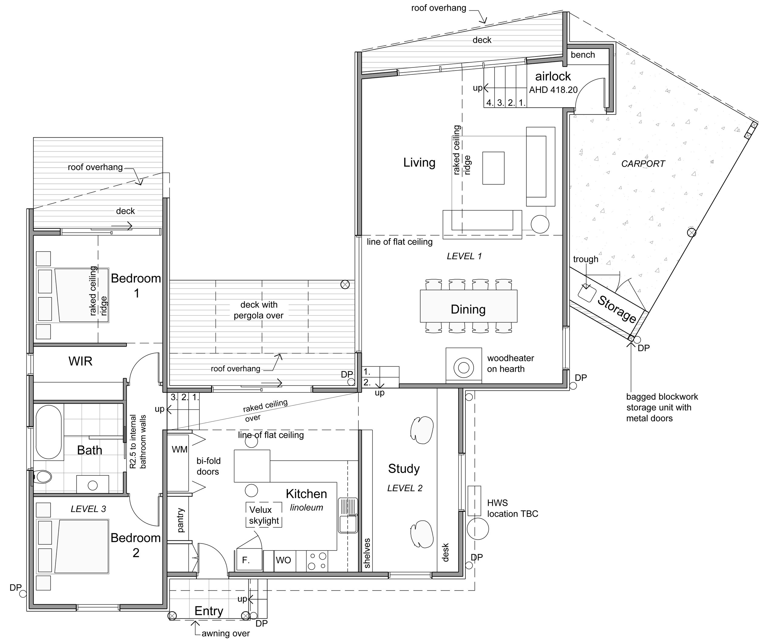 The split level plan is simple in its arrangement: sleeping and bathing on the upper level, kitchen and study on the central middle level, and living and dining on the larger lower level.
