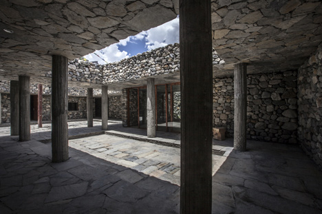 Contemporary stone building in Jomsom. Courtyard with deep shading to thermal mass walls to prevent overheating in summer.