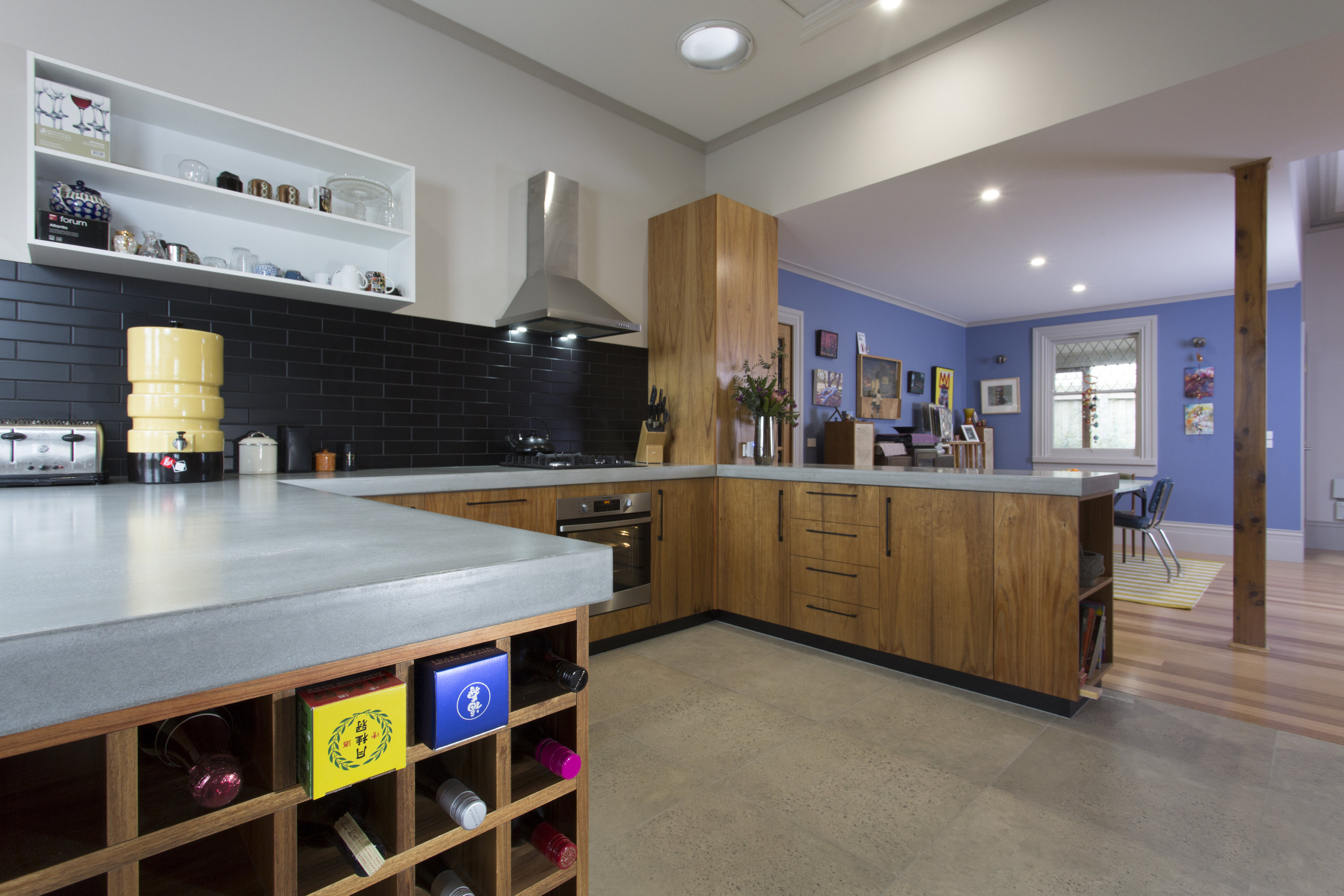The new kitchen is a proud highlight for the owners. Concrete bench tops is a decision they will never regret.