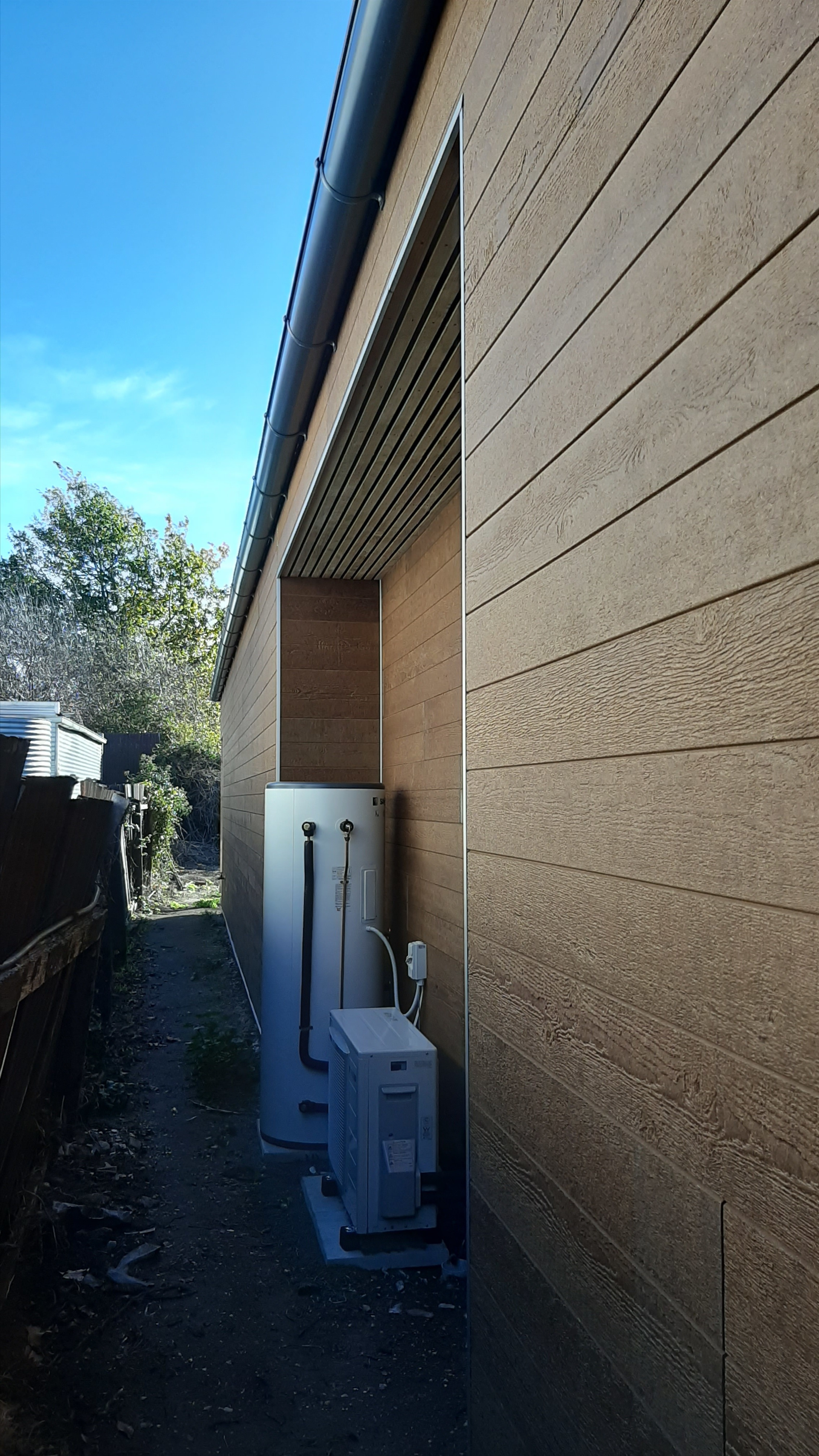 Services recess to house the heat pump hot water unit