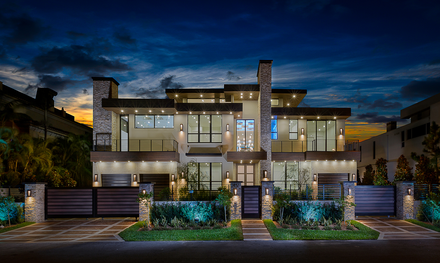 New project -just completed in October 2016.2437 Delmar Place - 3-story house located in Las Olas. 102' waterfront, oversized lot 102.5'x120', 8000 sq. ft A/C, 12,400 sq. ft total7 bedrooms including 2 masters, office, media room, gym, 2nd and 3rd floor loft, roof terrace, 7 full bathrooms, 2 half bathrooms, elevator.New seawall and concrete dock, fantastic resort pool.