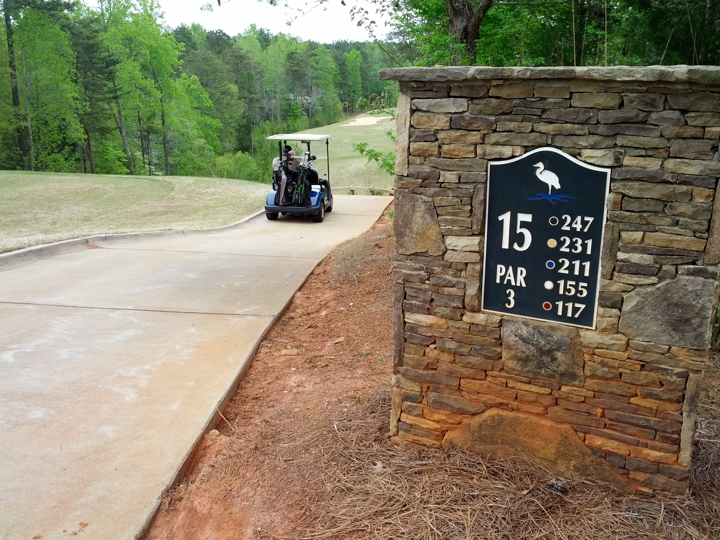 The beautiful 15th hole at Edgewater Golf Club in Lancaster, S.C. Lots of steps recorded...even with a cart.