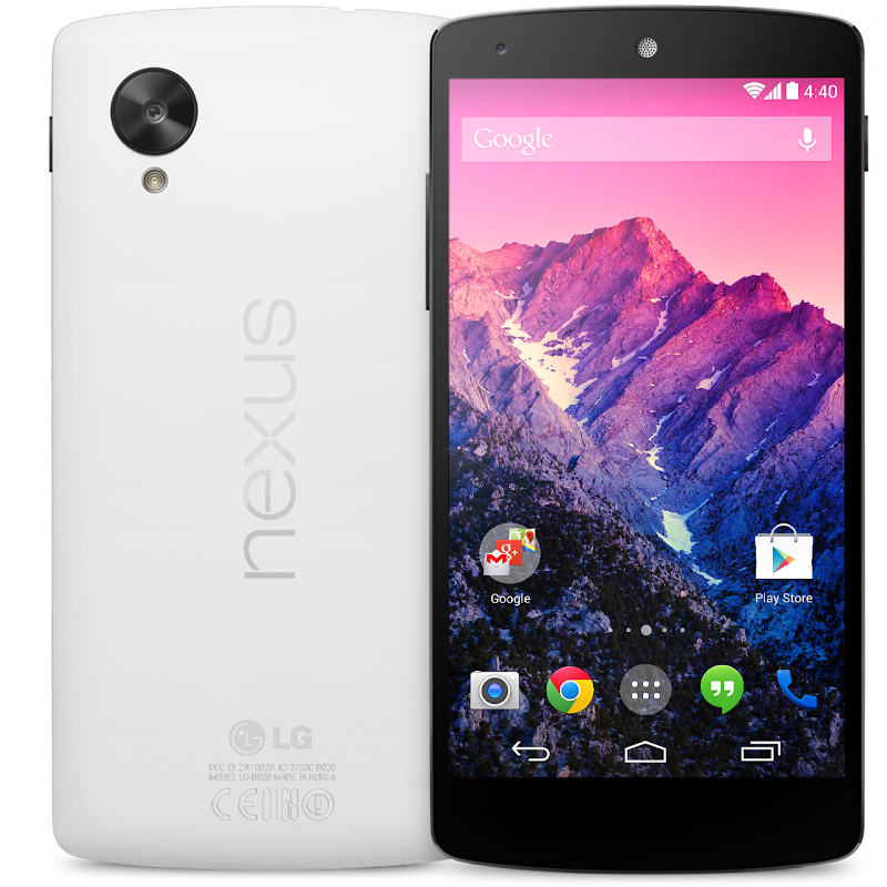 My new Nexus 5 phone from Google. It's white on the back! And it says Nexus!