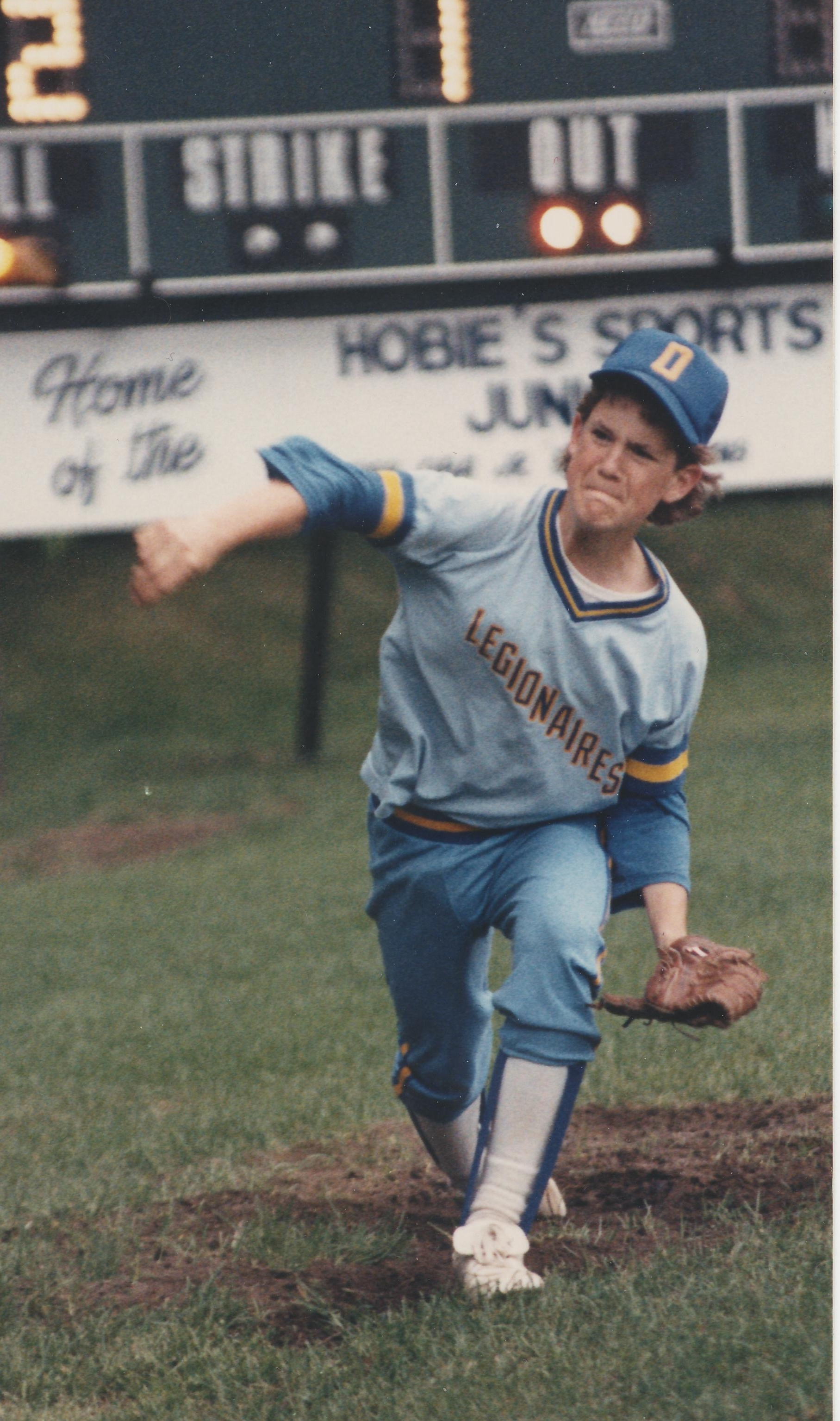 BRian played lots of sports. Here he's pitching for Oshawa vs. peterborough