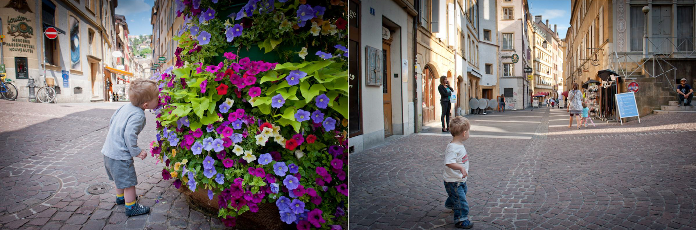 Sniffing flowers in Neuchatel and walking in the square