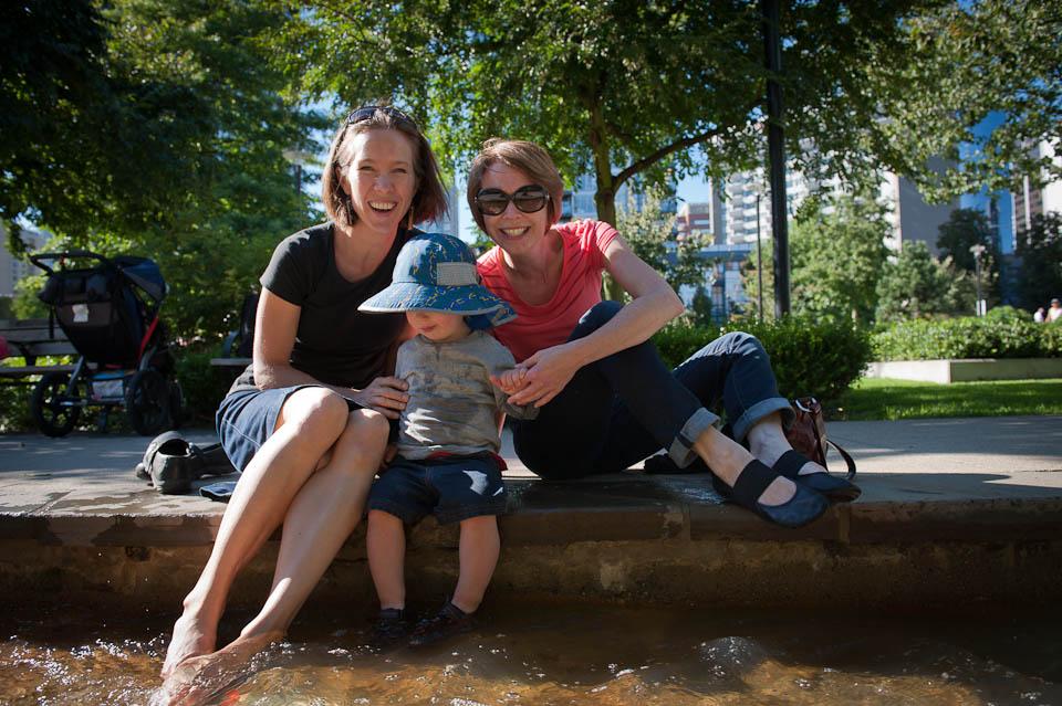 Splashing at Emery Barnes Park