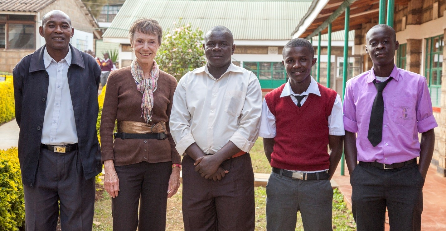 L to R: Dominic Ndwiga (one of our leadership team and head of IT at Meru Boys); Barbara Bates; Mark Namaswa (science teacher); Anton, student; George Wabuki, student who was teaching the digestive system to the class.