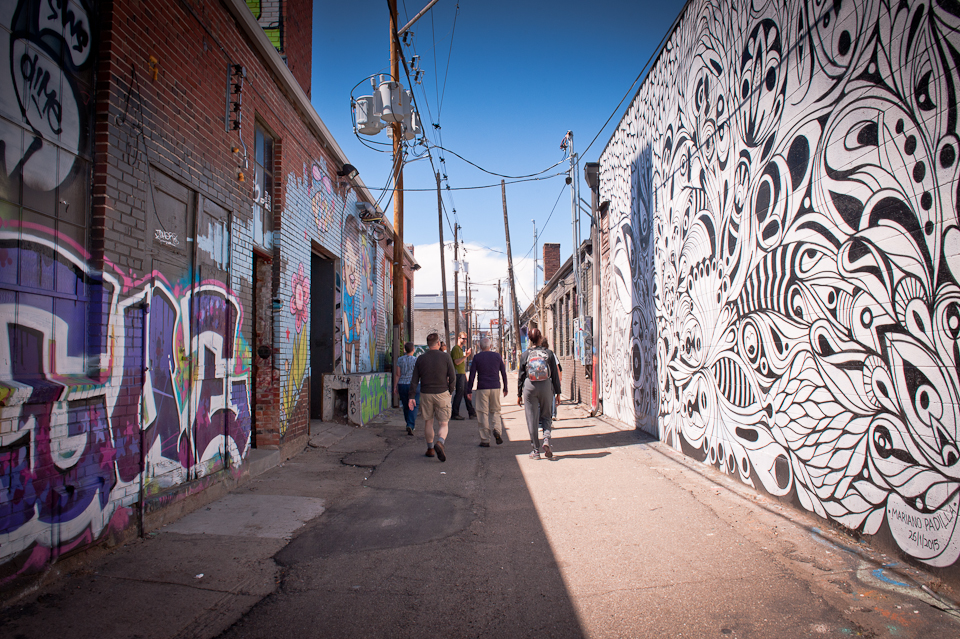 We explored artistic alleyways on our ambassador training walk in Denver.