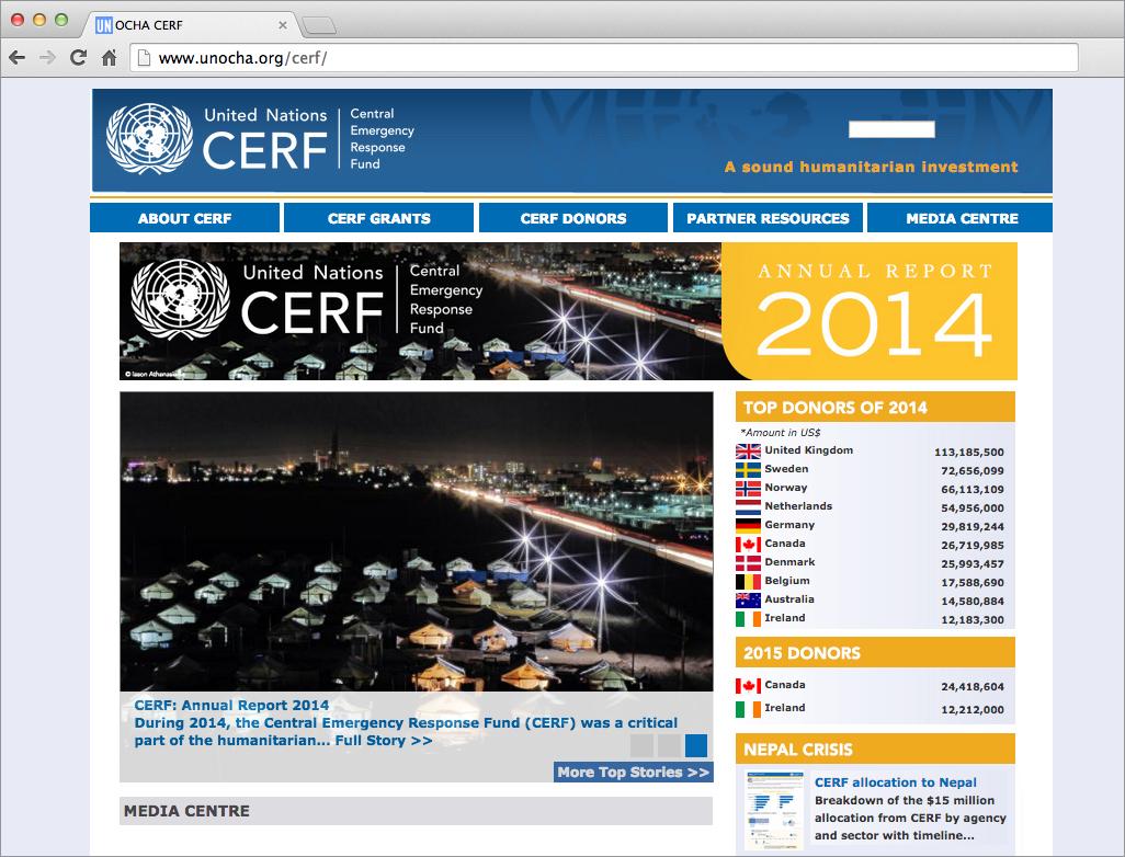 UN CERF's website promoting the Annual Report 2014.