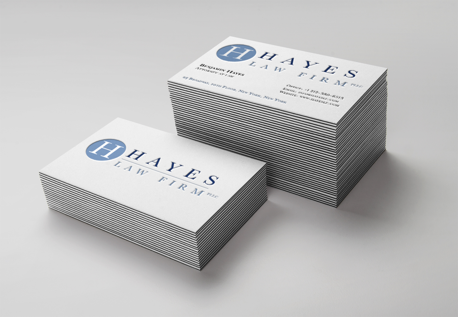 Identity for Hayes Law Firm based in downtown Manhattan. Logo design which was used on the website, business cards, letterheads, and office signage.