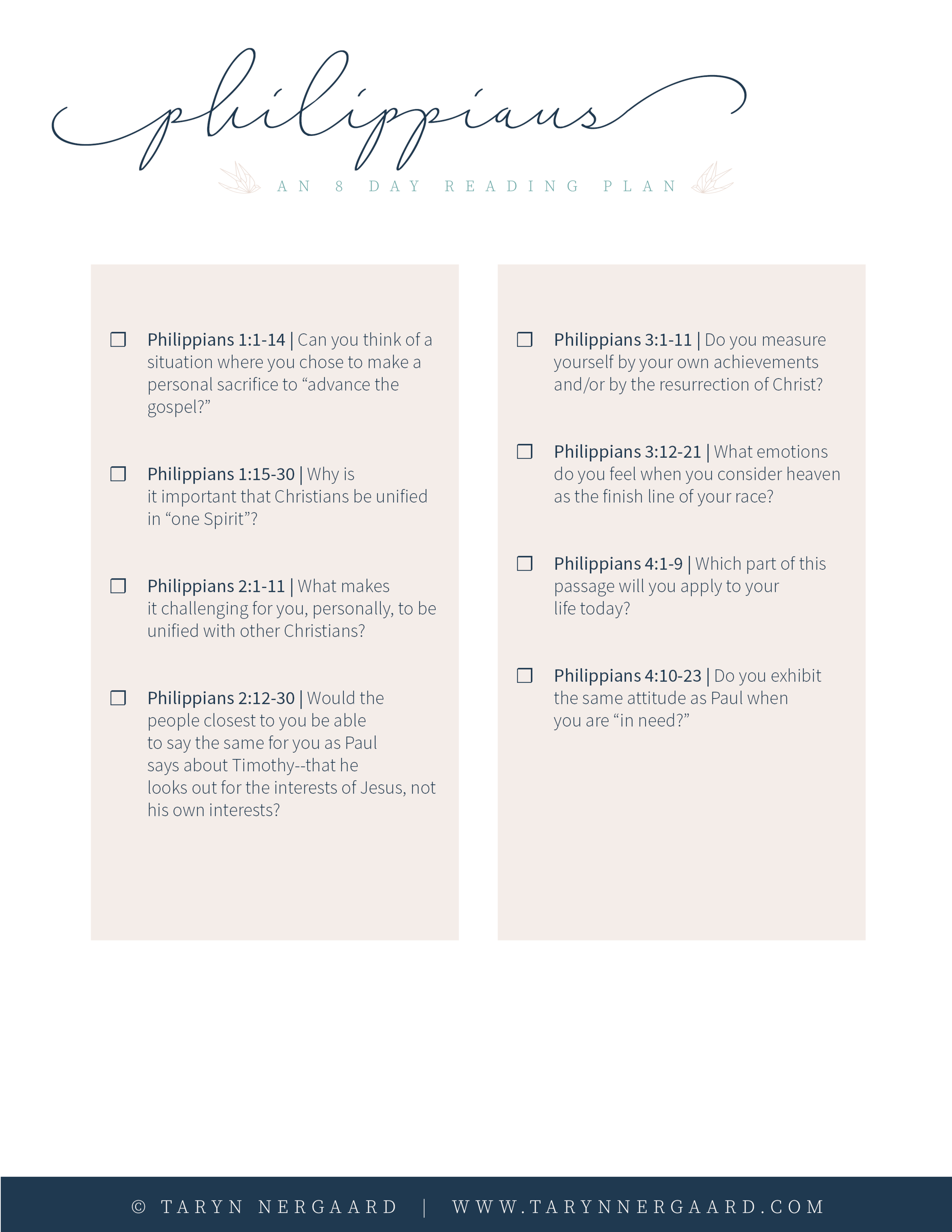 Philippians Bible Reading Plan