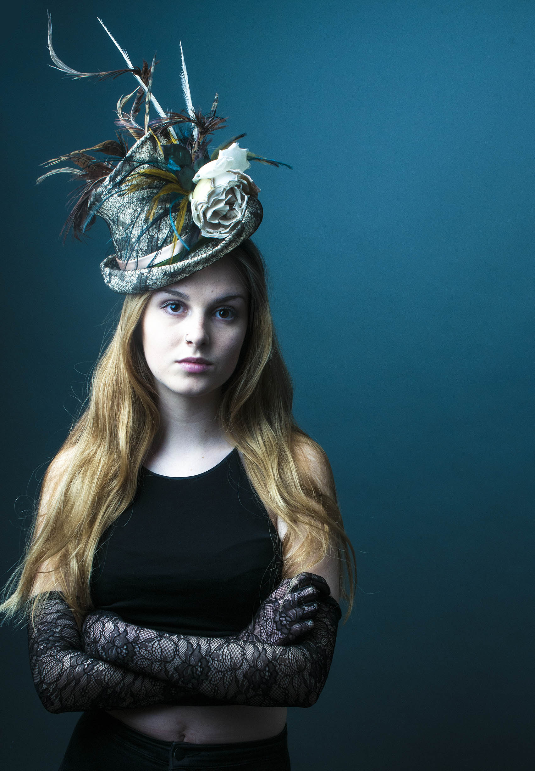Lomax and Skinner millinery top hat on red headed girl.jpg