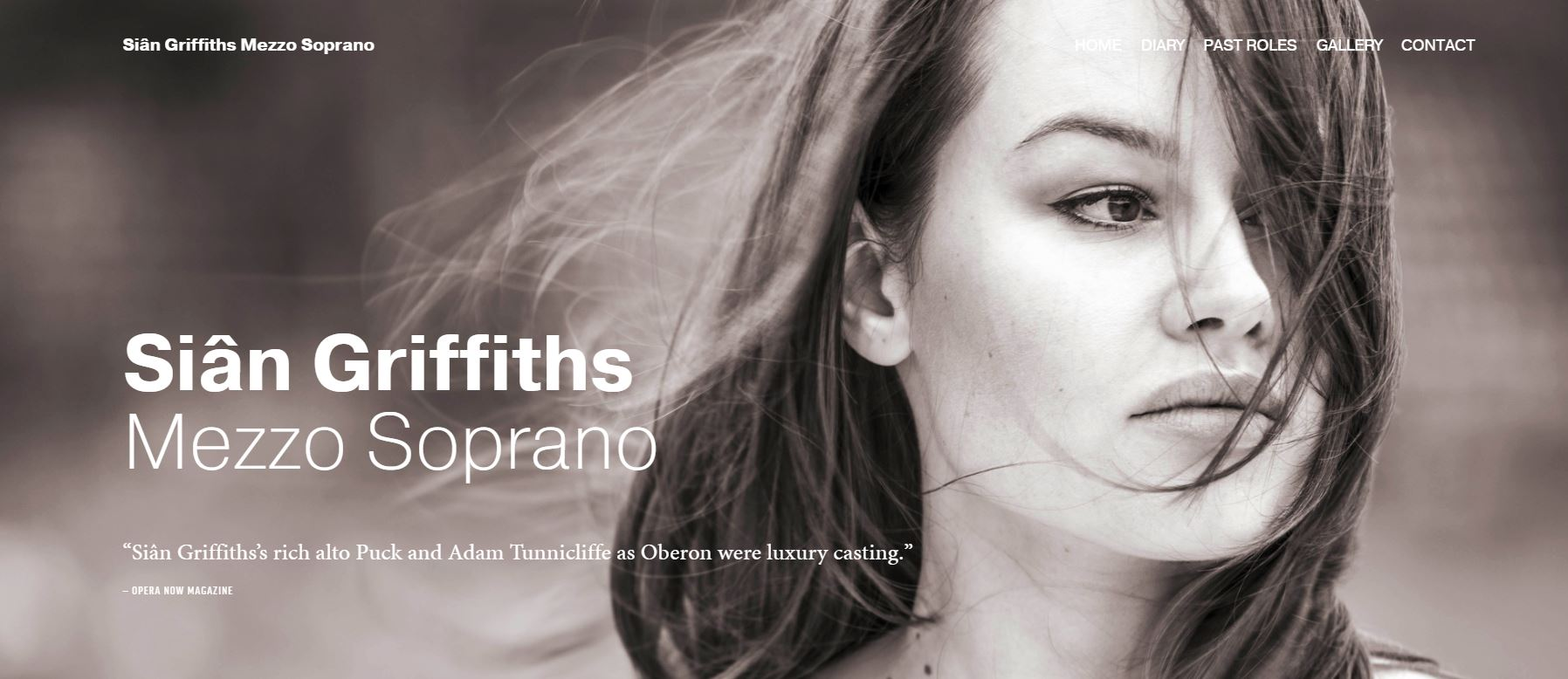 Copy of Screenshot of home page of Mezzo Soprano Sian Griffiths website