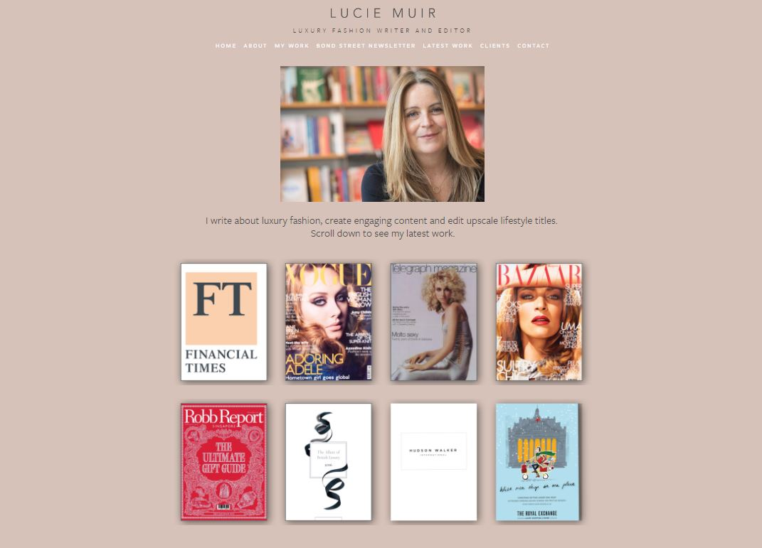 Home page Lucie Muir's website