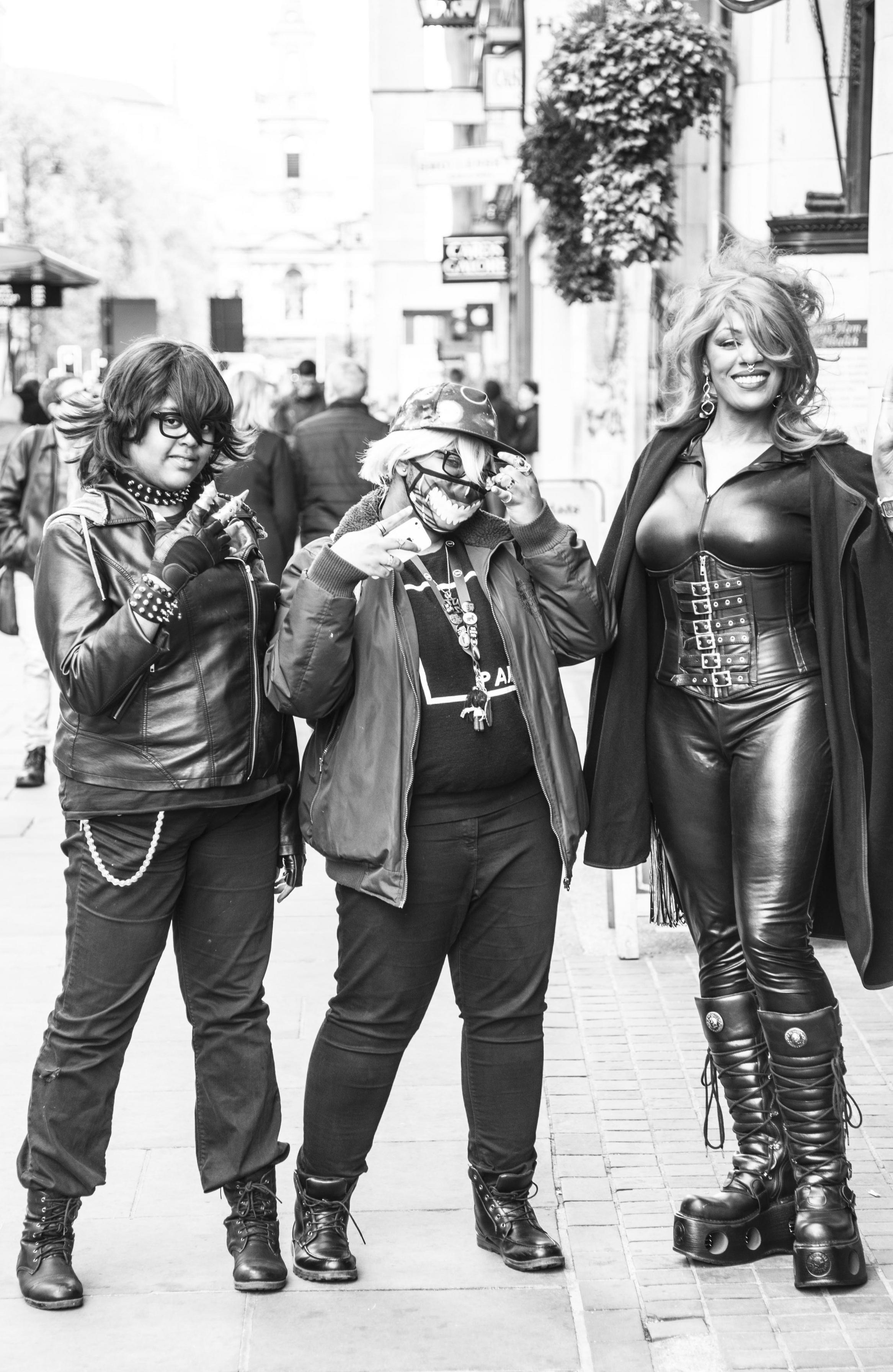 Three ladies in black leather in London.jpg