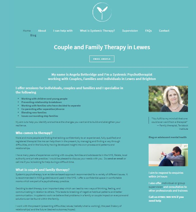 Angela Betteridge Systemic Family Therapist Home Page