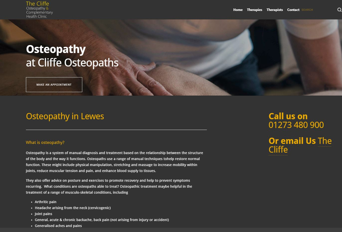 Cliffe Osteopathy Osteopathy page screenshot.JPG