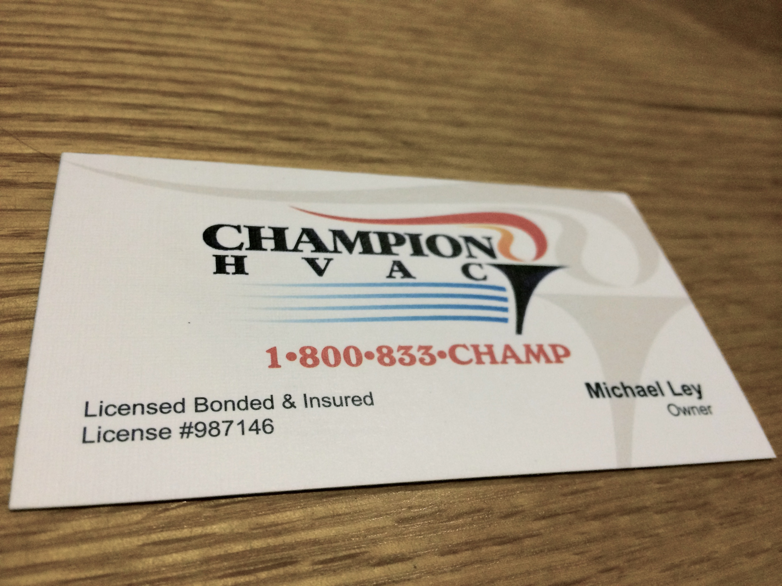 Champion Business Card