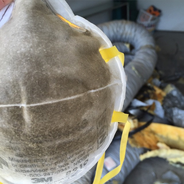 Safety first. Dust mask for re-ducting of entire home with new R-6 insulated flex duct. Gotta love the attics! 😅 #ChampionHVAC #StayCool