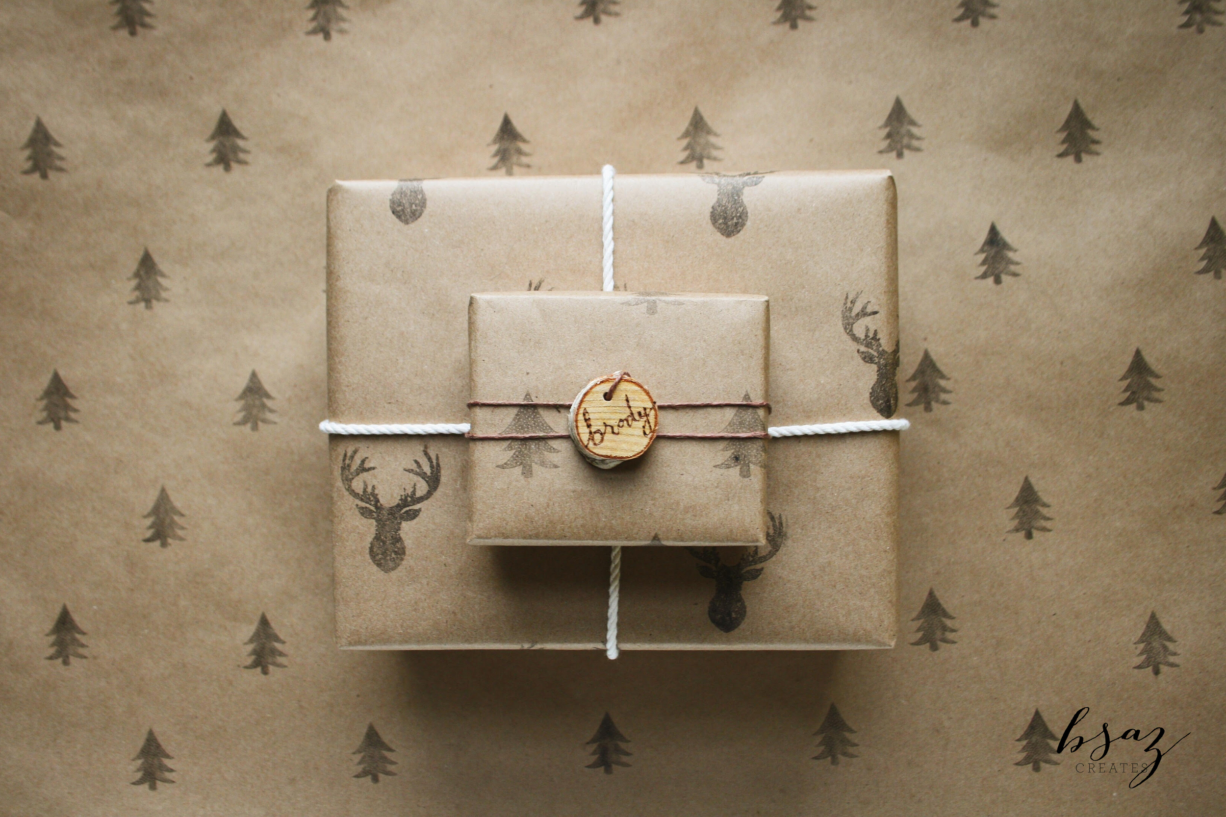 BSaz Creates | Stamped Wrapping Paper with Silhouette Mint
