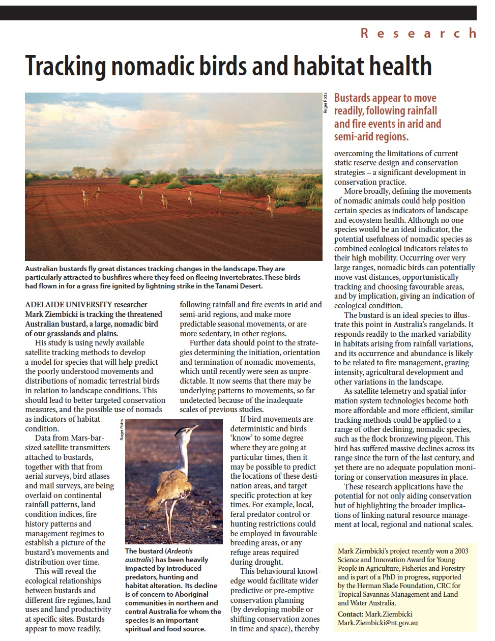 Article in  ECOS Magazine (Issue 117)