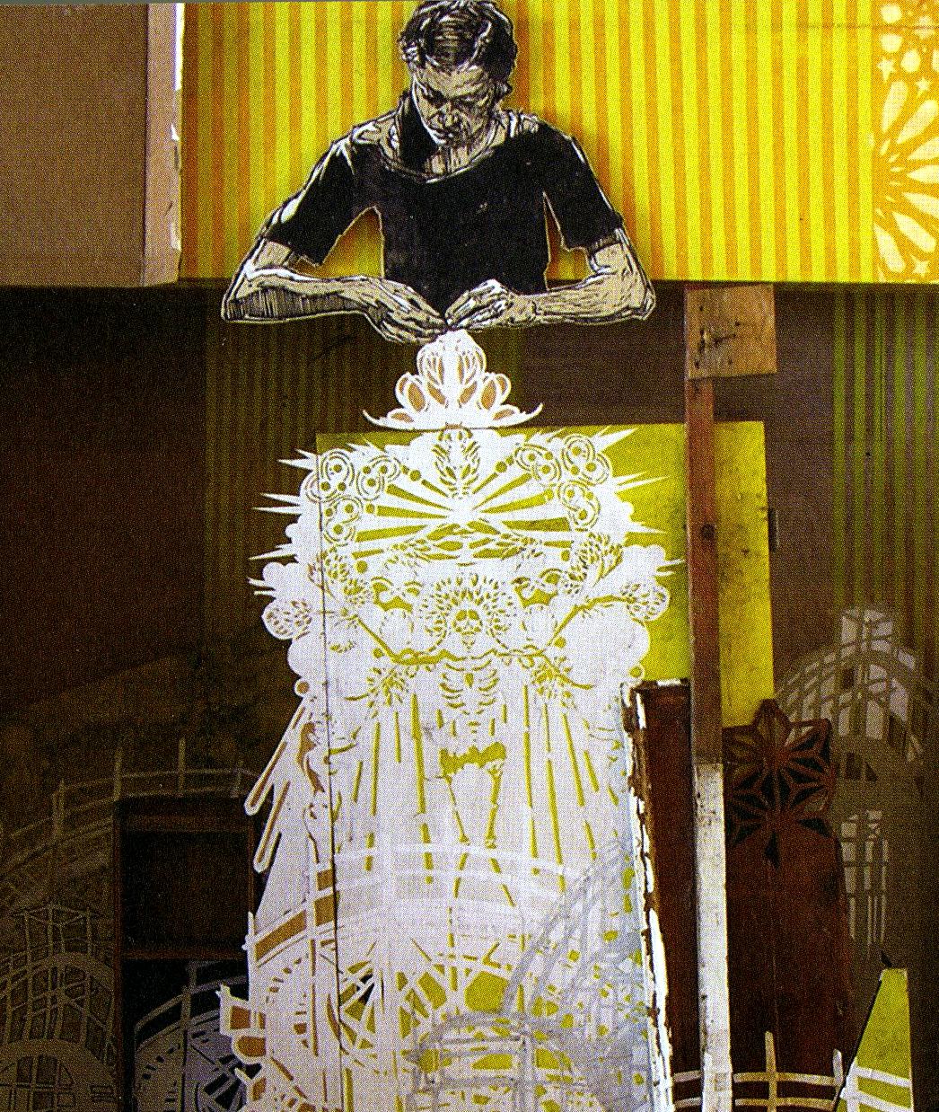 Swoon, Alison the Lace Maker, 2007, 185 x 90 cm, blandteknik