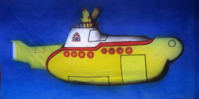 1960s Backdrop  Beatles Yellow Submarine  Treated with fire retardant 220816
