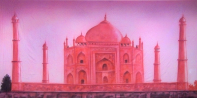 Bollywood Backdrop  Pink Taj Mahal  Treated with fire retardant 010817