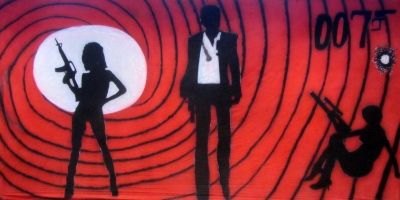 James Bond 007 Backdrop  Bond and Bond Girl Silhouettes  Treated with fire retardant 300815