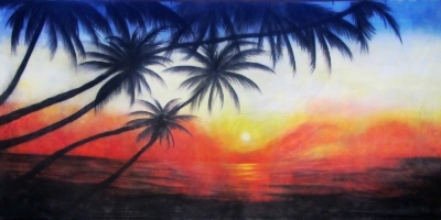 Caribbean Backdrop  Caribbean Sunset 1  Treated with fire retardant 300815