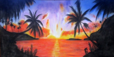 Caribbean Backdrop  Caribbean Sunset 2  Treated with fire retardant 300815